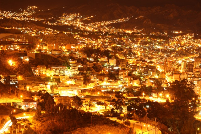 La Paz  from above with a long exposure. Kinda like fire and brimstone.